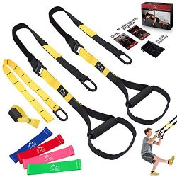 Bodyweight Resistance Training Straps, JDDZ Complete Home Gym Fitness Trainer kit for Full-Body  ...