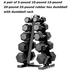 PAPABABE Dumbbell Set with A-Frame Dumbbell Rack Rubber Encased Hex Dumbbell Free Weights Dumbbe ...