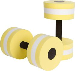 ZEYU SPORTS Aquatic Exercise Dumbbells – Set of 2 – for Water Aerobics (Light Yellow)
