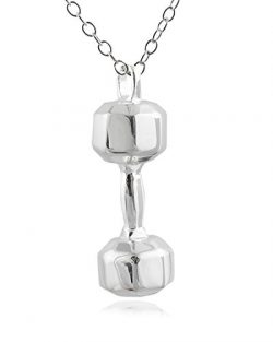 Sterling Silver Dumbbell Weight Pendant Necklace, 18 Inch Chain