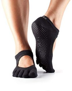 ToeSox Women's Grip Full Toe Bella Socks, Small, U.S. Size Women: 6-8 Men:5-7 Black