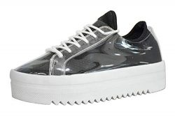 LUCKY-STEP Women's Platform Sneakers – Lace Up Casual Chunky Shoes Glassy Leather Sn ...