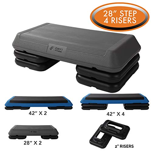 Aerobic Exercise Step Platform by Day 1 Fitness – 28in x 14in CIRCUIT SIZE STEP with 4 RIS ...