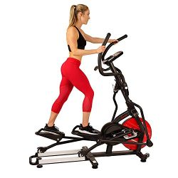 Sunny Health & Fitness Magnetic Elliptical Trainer Machine w/Tablet Holder, LCD Monitor, 265 ...