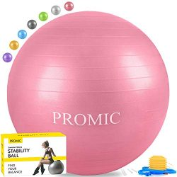 PROMIC Exercise Ball (65 cm) with Foot Pump, Professional Grade Anti Burst & Slip Resistant  ...