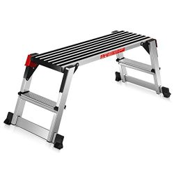 Giantex Step Stool Folding Step Ladder Portable Work Bench Aluminum Drywall Stool with Non Skid  ...