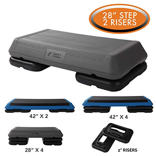 Aerobic Exercise Step Platform by Day 1 Fitness – 28in x 14in CIRCUIT SIZE STEP with 2 RIS ...