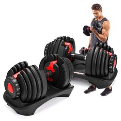 Lovshare Adjustable Dumbbell Series 52.5lbs and 90lbs Fitness Dumbbell Standard Adjustable Dumbb ...