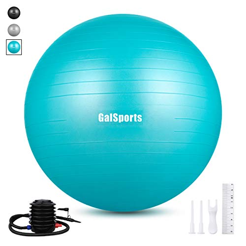 GalSports Extra Thick Exercise Ball, Anti-Burst Yoga Ball Chair Supports 2203lbs with Quick Pump ...