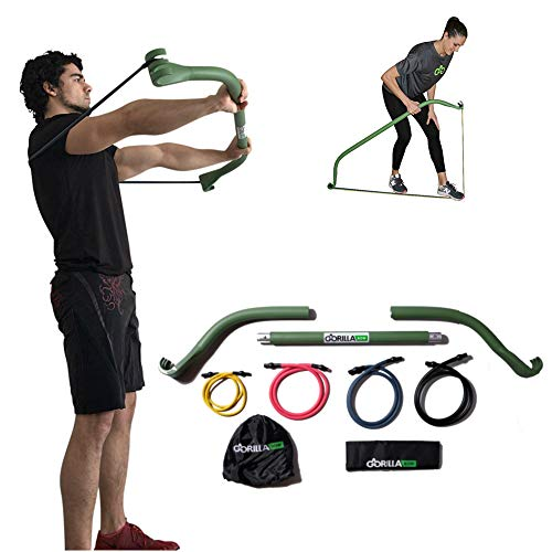 Gorilla Bow Portable Home Gym Resistance Band System, Weightlifting and HIIT Interval Training K ...