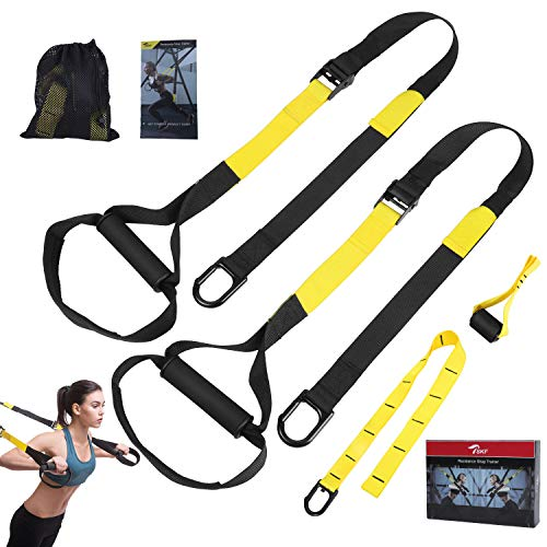 TSKF Bodyweight Fitness Resistance Trainer Kit, Home Gym & Outdoor Fitness Training Straps f ...