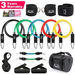 Resistance Bands Set – Includes 5 Stackable Exercise Bands with Door Anchor, Ankle Straps, ...