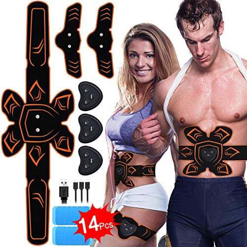 ABS Stimulator Muscle Toner Rechargeable Abdominal Toning Belt, EMS Abdomen Muscle Trainer Fitne ...