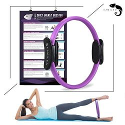 Kamileo Pilates Ring, Full Body Toning Magic Circle with Exercise Poster, High Resistance Fitnes ...