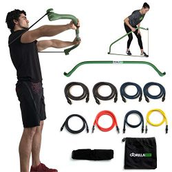 Gorilla Bow Portable Home Gym Resistance Band System Heavy Set, Weightlifting and HIIT Interval  ...