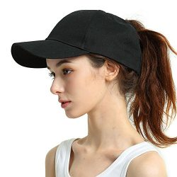 Womens Ponytail Baseball Hat Messy High Buns Ponycap Plain Unconstructed Cotton Dad Hat Adjustab ...