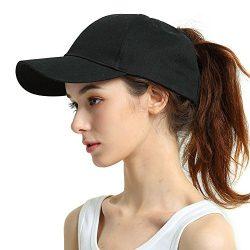 Womens Ponytail Baseball Hat Messy HighBuns Ponycap Plain UnconstructedCotton Dad Hat Adjustab ...