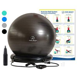Exercise Ball Chair System – Yoga and Pilates 65 cm Ball with Stability Base and Workout R ...