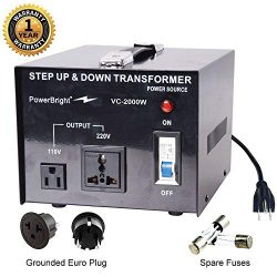 PowerBright Step Up & Down Transformer, Power ON/Off Switch, Can be Used in 110 Volt Countri ...