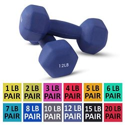 Neoprene Dumbbell Pairs by Day 1 Fitness – 12 Pounds – Non-Slip, Hexagon Shape, Colo ...