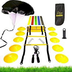 Premium Speed Agility Training Set – Equipment Kit Includes Ladder, 10 Cones with Holder,  ...