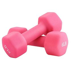 Portzon 6 lb Weights Neoprene Dumbbells, Coated for Non-Slip Grip,Pink,1 Pair