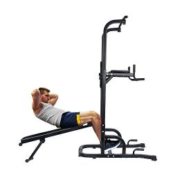 ONETWOFIT Multi-Function Power Tower with Sit Up Bench,Adjustable Height Pull Up Tower Heavy Dut ...