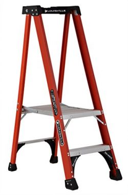 Louisville Ladder FXP1802HD Fiberglass Pro Platform Ladder, Type IAA, 375-Pound Load Capacity, 2 ...