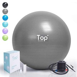 Top Balance Anti-Burst Exercise Ball (Silver, 65cm), Extra Thick Construction Supports up to 100 ...