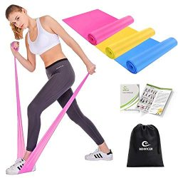 Benificer Resistance Band Set, 3 Pack Latex Elastic Bands for Upper & Lower Body & Core  ...