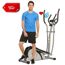 ANCHEER Elliptical Machine, Elliptical Exercise Trainer Machine with LCD Monitor and Pulse Rate  ...
