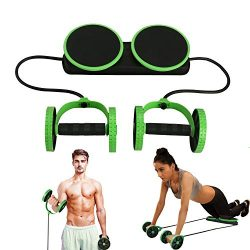 MACUNIN Multi Function Double AB Roller Wheel Exercise Equipment for Home Gym,Abdomen and Arm Wo ...