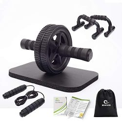 Benificer 4-in-1 AB Wheel Roller Kit with Push Up Bars, Jump Rope and Knee Pad – Perfect A ...