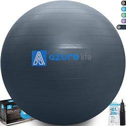 A AZURELIFE Professional Grade Exercise Ball, Anti-Burst&Non-Slip Stability Balance Ball wit ...