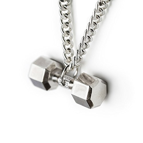 Dumbbell Necklace Sterling Silver Seven Sided Dumbbell Pendant Fitness Necklace Gym Jewelry Cros ...