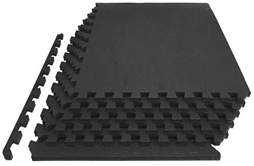 Prosource Fit Extra Thick Puzzle Exercise Mat 1″, EVA Foam Interlocking Tiles for Protecti ...