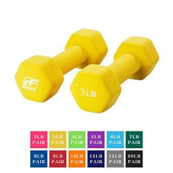 RitFit Set of Two Neoprene Dumbbells Coated for Non-Slip Grip, 1 lb-20 lb (3 Pound(Yellow))