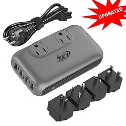 Key Power Step Down 220V to 110V Voltage Converter and International Travel Adapter, for CPAP, H ...