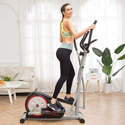 Home Elliptical Machine Exercise with LCD Monitor, Magnetic Smooth Quiet Health Fitness Workout  ...