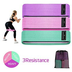 Fabric Resistance Band Loop, 5 Non-Slip Elastic Booty Workout Exercise Bands, Cotton and Rubber  ...