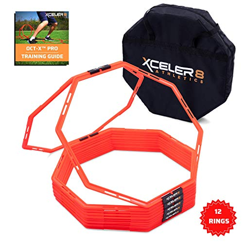 OCT-X PRO 12 Octagon 24″ Agility Rings / Agility Grid Training for Foot Speed, Vertical Ju ...