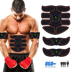 Abs Stimulator Abdominal Muscle, EMS ABS Trainer Body Toning Fitness, USB Rechargeable Toning Be ...