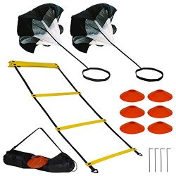 Guardian-Elite Fitness Agility Ladder Speed Training Equipment Set – Includes Exercise Foo ...