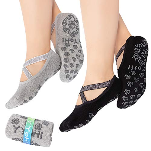 Yoga Socks for Women Non-Slip Grips & Silver Elastic Strap, Ideal for Pilates, Pure Barre, B ...