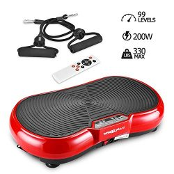 Vibration Plate Machine, Whole Body Fitness Vibration Platform with Remote Control and Resistanc ...