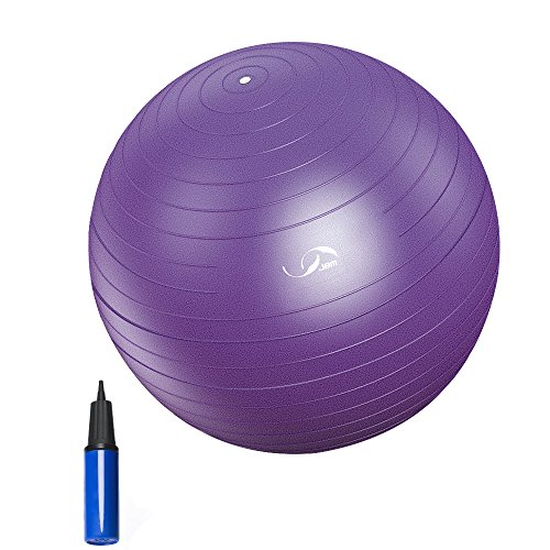 JBM Exercise Yoga Ball with Free Air Pump (4 Sizes 5 Colors) 400 lbs Anti-Burst Slip-Resistant Y ...