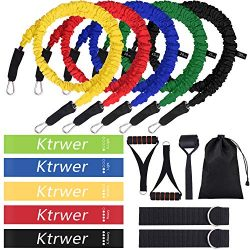 Resistance Bands with Handles Set Workout Exercise Bands Set of 5 Resistance Loop Bands Door Anc ...