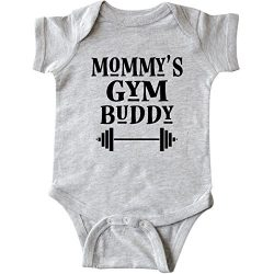inktastic Mommy Gym Buddy Workout Infant Creeper 6 Months Heather Grey