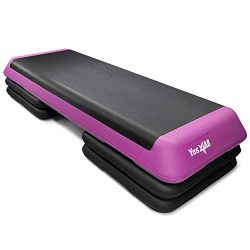 Yes4All Adjustable Aerobic Step Platform with 4 Risers (Pink)