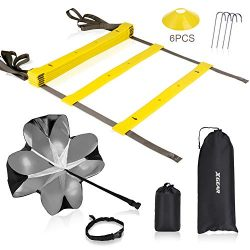 XGEAR Speed Agility Training Set – Adjustable Rungs Agility Ladder, Resistance Parachute,  ...